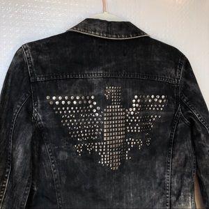 Mango | Black Studded Eagle Denim Jacket XS